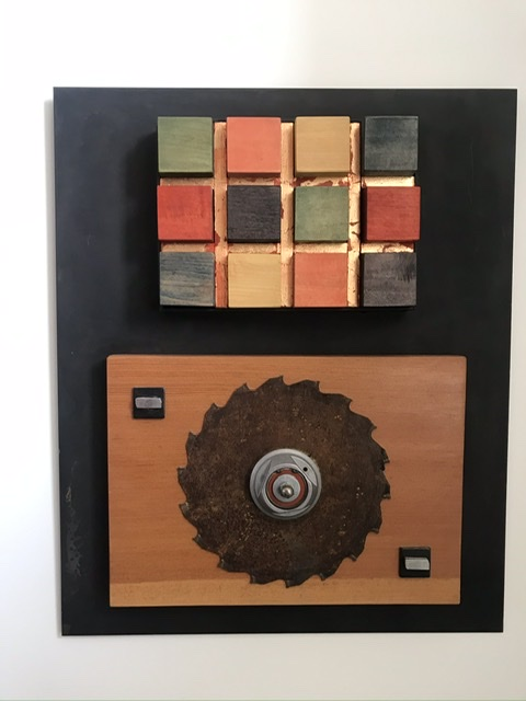 Puzzled 14x14x2.5 blackened steel, Douglas Fir, rusted saw blade, gilded and dyed Maple
